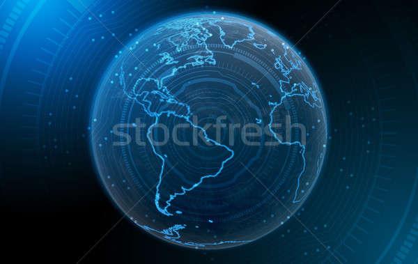 Planet With Illuminated Continents Stock photo © albund