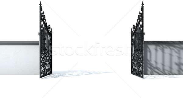 Open Ornate Gates And Wall Stock photo © albund