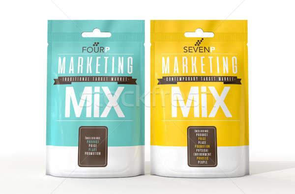 Comercialización dos paquetes producto estrategias Foto stock © albund