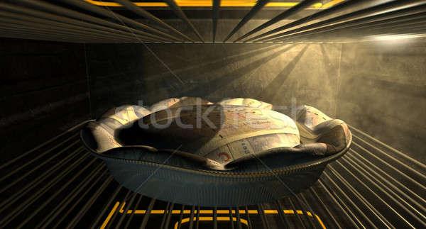 British Pound Money Pie Baking In The Oven Stock photo © albund