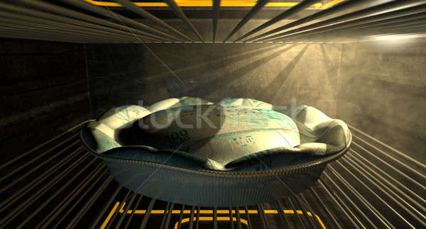 Brazilian Real Money Pie Baking In The Oven Stock photo © albund