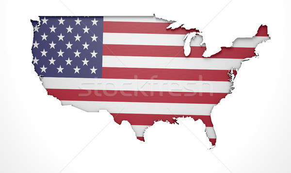 Recessed Country Map USA Stock photo © albund