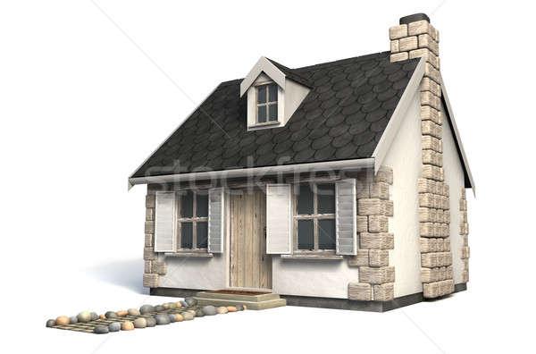Pequeno casa de campo pedra tijolo chaminé Foto stock © albund
