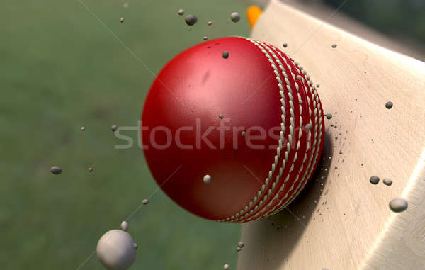 Cricket balle bat particules rouge cuir Photo stock © albund