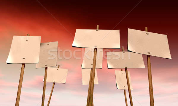 Blank Strikers Picket Plackards And Red Sky Stock photo © albund