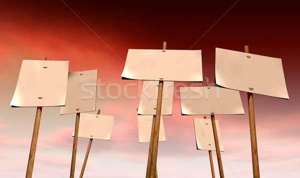 Rood hemel ingesteld negen witte bevestigd Stockfoto © albund