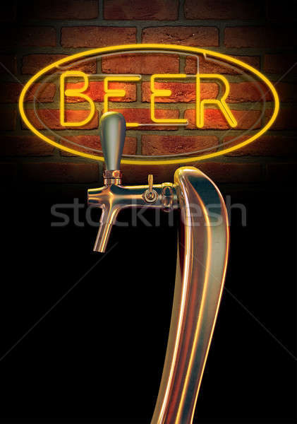 Beer Tap Single With Neon Sign Stock photo © albund