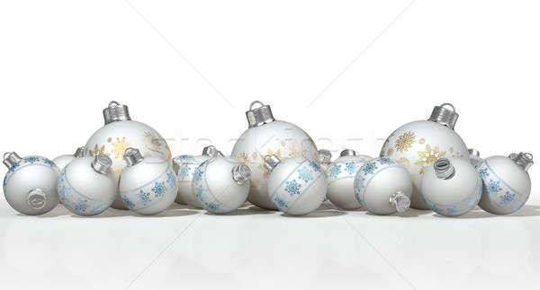 Díszes matt fehér karácsony gyűjtemény keverék Stock fotó © albund