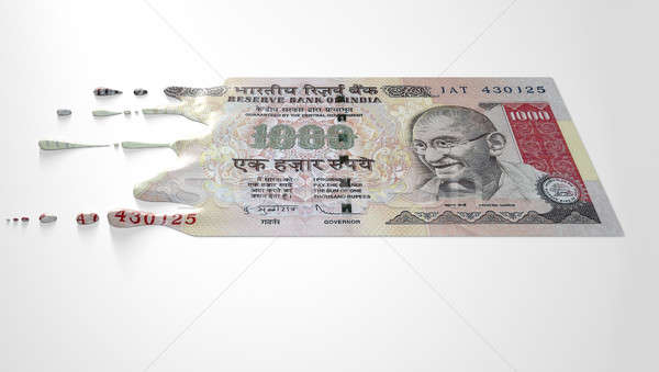 Indian Rupee Melting Dripping Banknote Stock photo © albund
