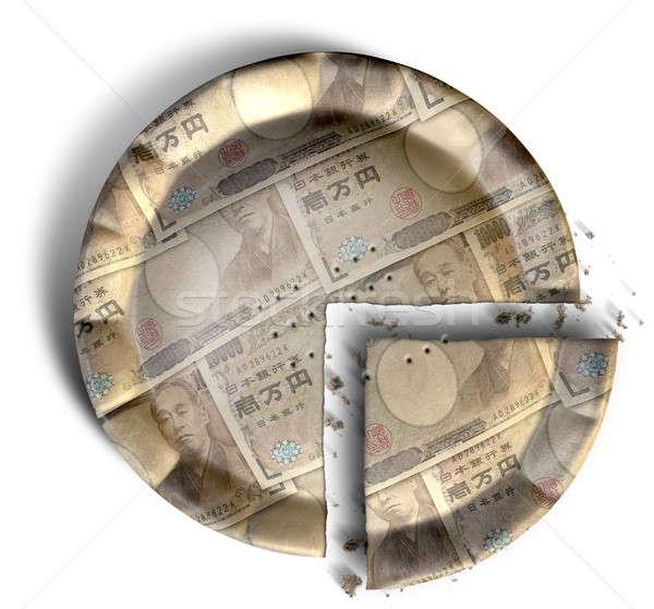 Plaster japoński jen ceny pie górę Zdjęcia stock © albund