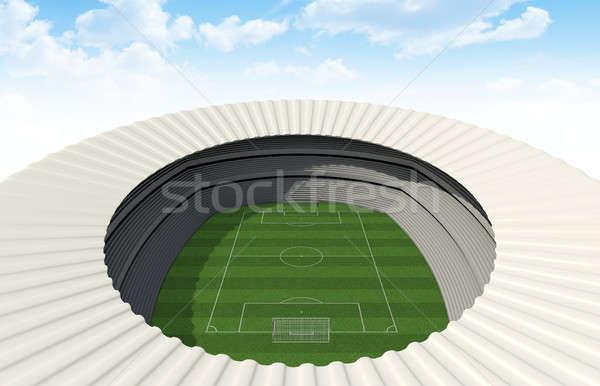 ストックフォト: サッカー · スタジアム · 日 · 緑の草 · ピッチ