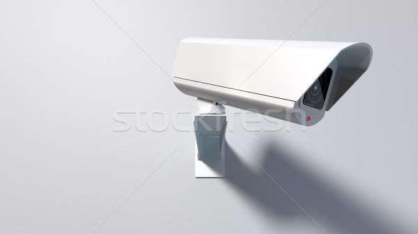 Megfigyelés kamera fehér drótnélküli megvilágított fények Stock fotó © albund