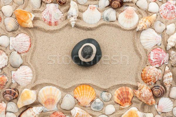 Rocha areia mar conchas topo ver Foto stock © alekleks