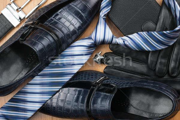 Klasszikus cipők nyakkendő mandzsettagombok kesztyű öv Stock fotó © alekleks