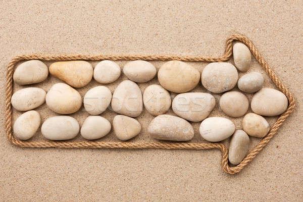 Corda branco pedras praia textura mar Foto stock © alekleks