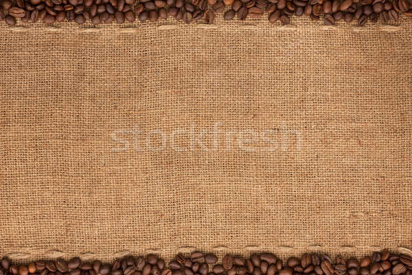 Coffee beans lying on sackcloth Stock photo © alekleks