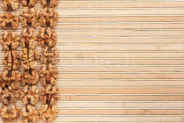 walnut is on a bamboo mat Stock photo © alekleks