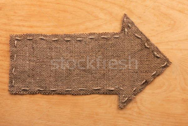 Flèche toile de jute mensonges bois utilisé bois Photo stock © alekleks