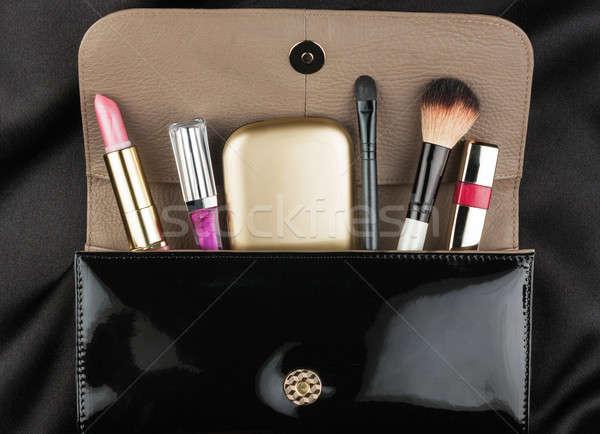 Fekete szabadalom bőr táska kozmetika szem Stock fotó © alekleks