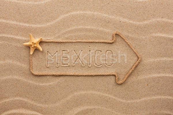 Arrow made of rope and sea shells with the word Mexico on the sa Stock photo © alekleks