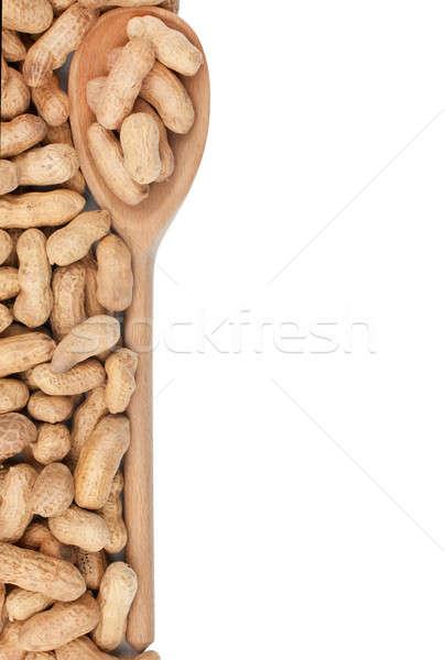 Cuchara de madera maní aislado blanco alimentos frutas Foto stock © alekleks