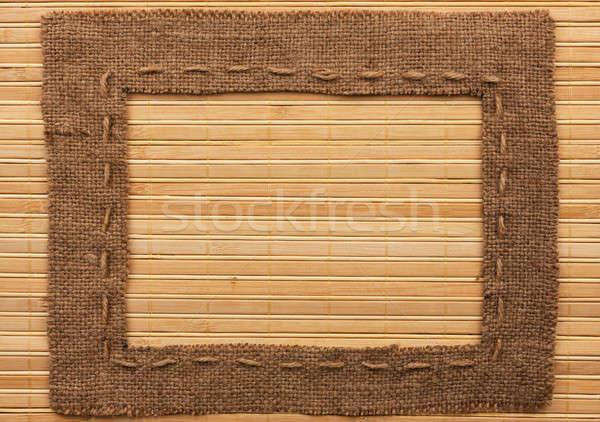 Cadre toile de jute mensonges bambou lieu bois Photo stock © alekleks
