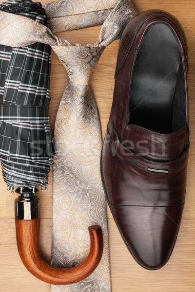Klasik ayakkabı kravat şemsiye can Stok fotoğraf © alekleks