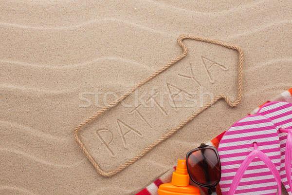 Strand zand zee teken reizen Stockfoto © alekleks
