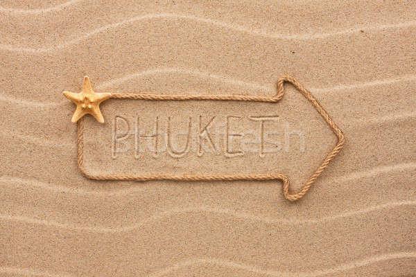 Seta corda mar conchas palavra phuket Foto stock © alekleks