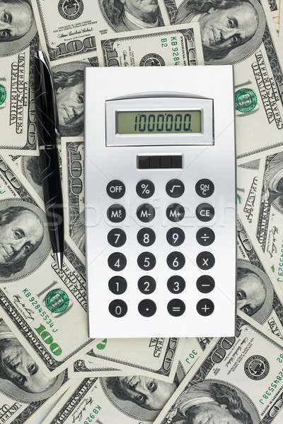 Calculator pen dollar business achtergrond financieren Stockfoto © alekleks