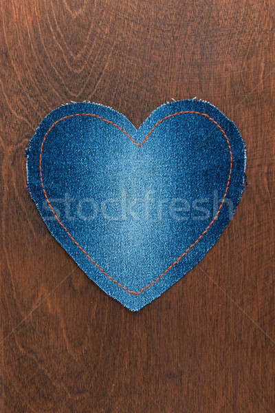 Jeans hart houten valentijnsdag hout mode Stockfoto © alekleks