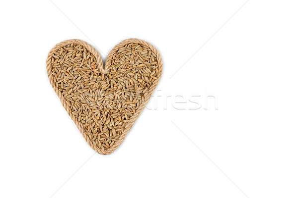 Symbolic heart made from rope with rye grains  Stock photo © alekleks
