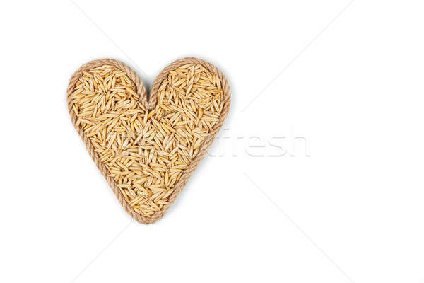 Symbolic heart made from rope with oats grains Stock photo © alekleks