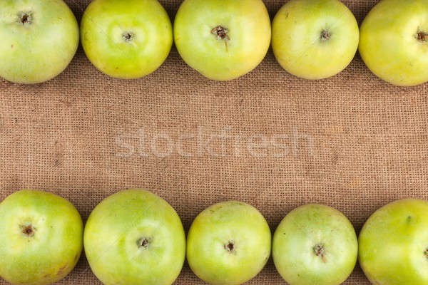 Green  apples lie on sackcloth Stock photo © alekleks