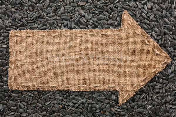 Jute zonnebloem zaden plaats teken Stockfoto © alekleks