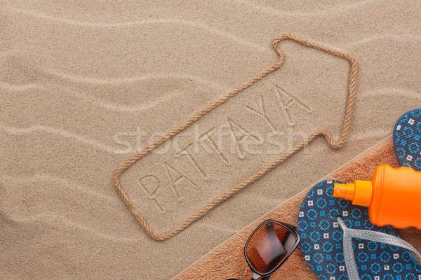Tengerpart kellékek homok buli háttér szépség Stock fotó © alekleks