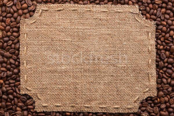 Frame jute steken plaats tekst koffiebonen Stockfoto © alekleks
