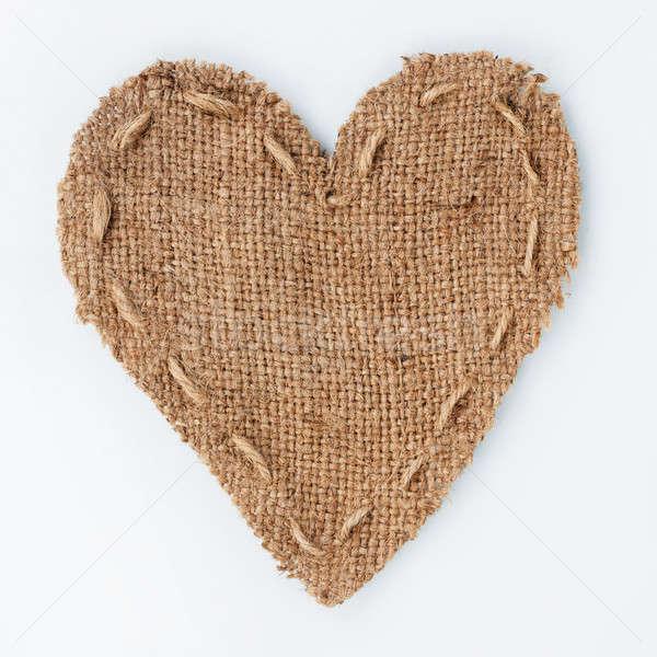 Simbólico coração pano de saco mentiras branco lugar Foto stock © alekleks