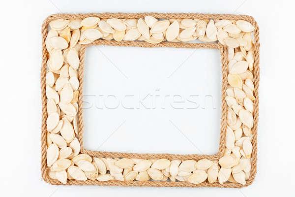 Kettő keret kötél sütőtök magok fehér Stock fotó © alekleks