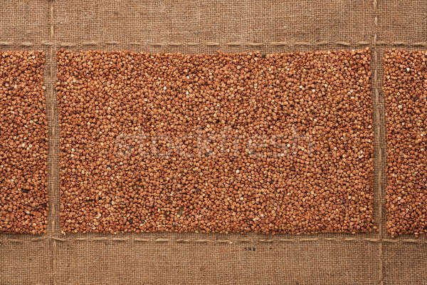 Buckwheat  grains on sackcloth, with place for your text Stock photo © alekleks