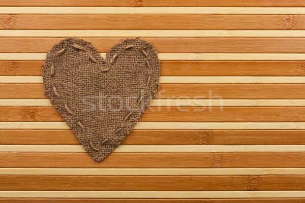 Simbólico coração pano de saco mentiras bambu abstrato Foto stock © alekleks