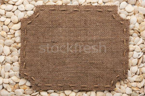 Frame jute steken plaats tekst pompoen Stockfoto © alekleks