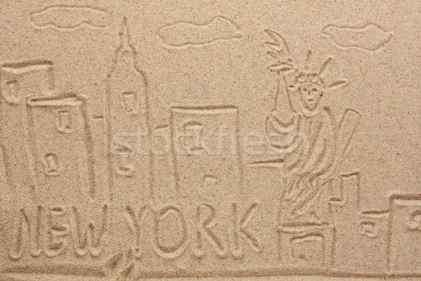 Nova Iorque pintado areia lata usado cidade Foto stock © alekleks