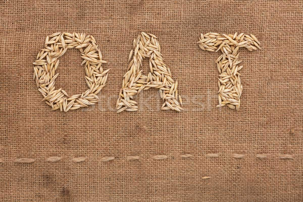 Oat word written on sackcloth Stock photo © alekleks