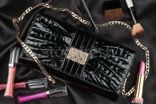 Gyönyörű táska szabadalom bőr kozmetika fekete Stock fotó © alekleks