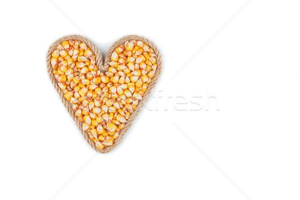 Szimbolikus szív kötél kukorica magvak fehér Stock fotó © alekleks