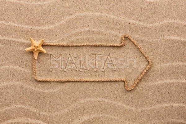 Pijl touw zeester woord Malta zand Stockfoto © alekleks