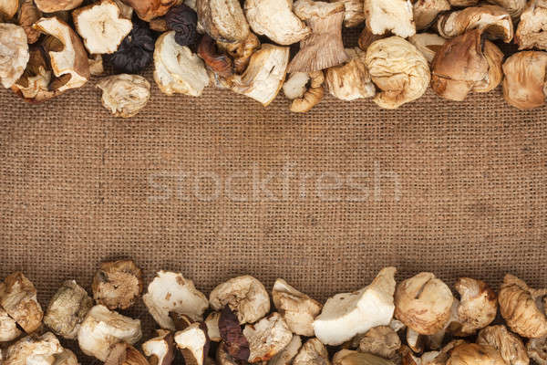 dried mushrooms  were lying on sackcloth Stock photo © alekleks