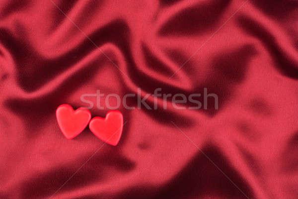 Dwa lovers serca czerwony satyna puszka Zdjęcia stock © alekleks