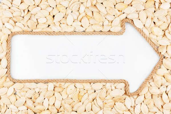Nyíl kötél sütőtök magok fehér hely Stock fotó © alekleks